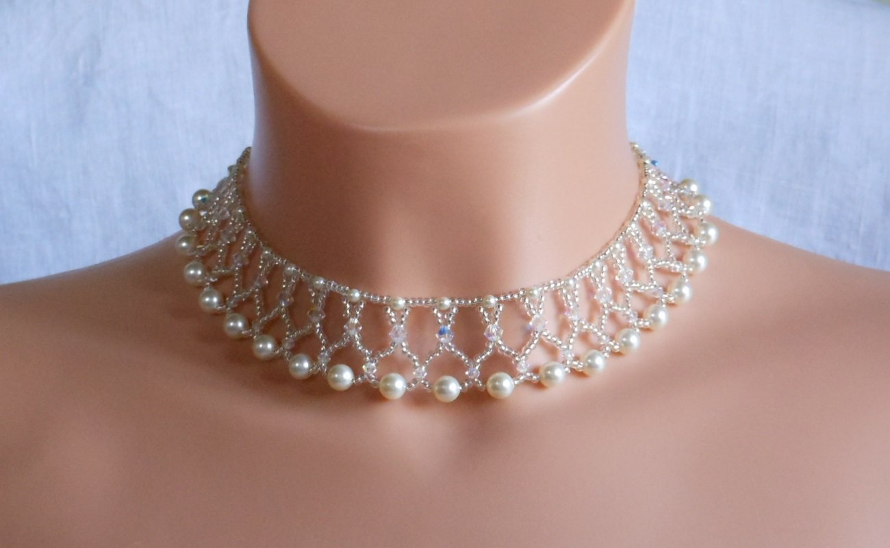 Swarovski cream Pearl Bridal Necklace,Woven Bridal Necklace, Swarovski Crystal Bridal Necklace
