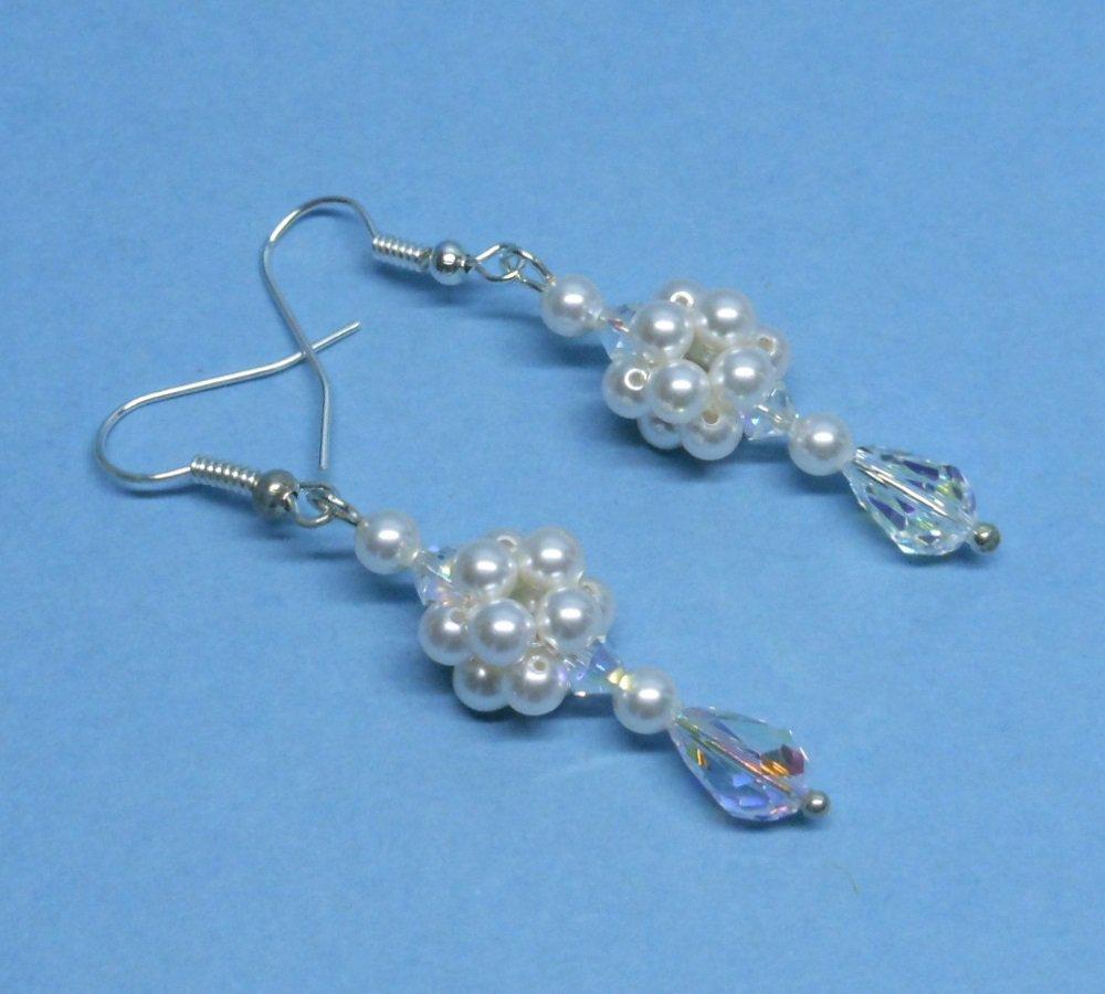 Swarovski White Pearl Bridal Earrings, Swarovski Crystal Bridal Earrings