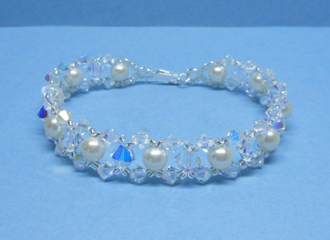 Swarovski Cream Pearl Bridal Bracelet, Woven Bridal Bracelet, Swarovski Crystal Bridal Bracelet