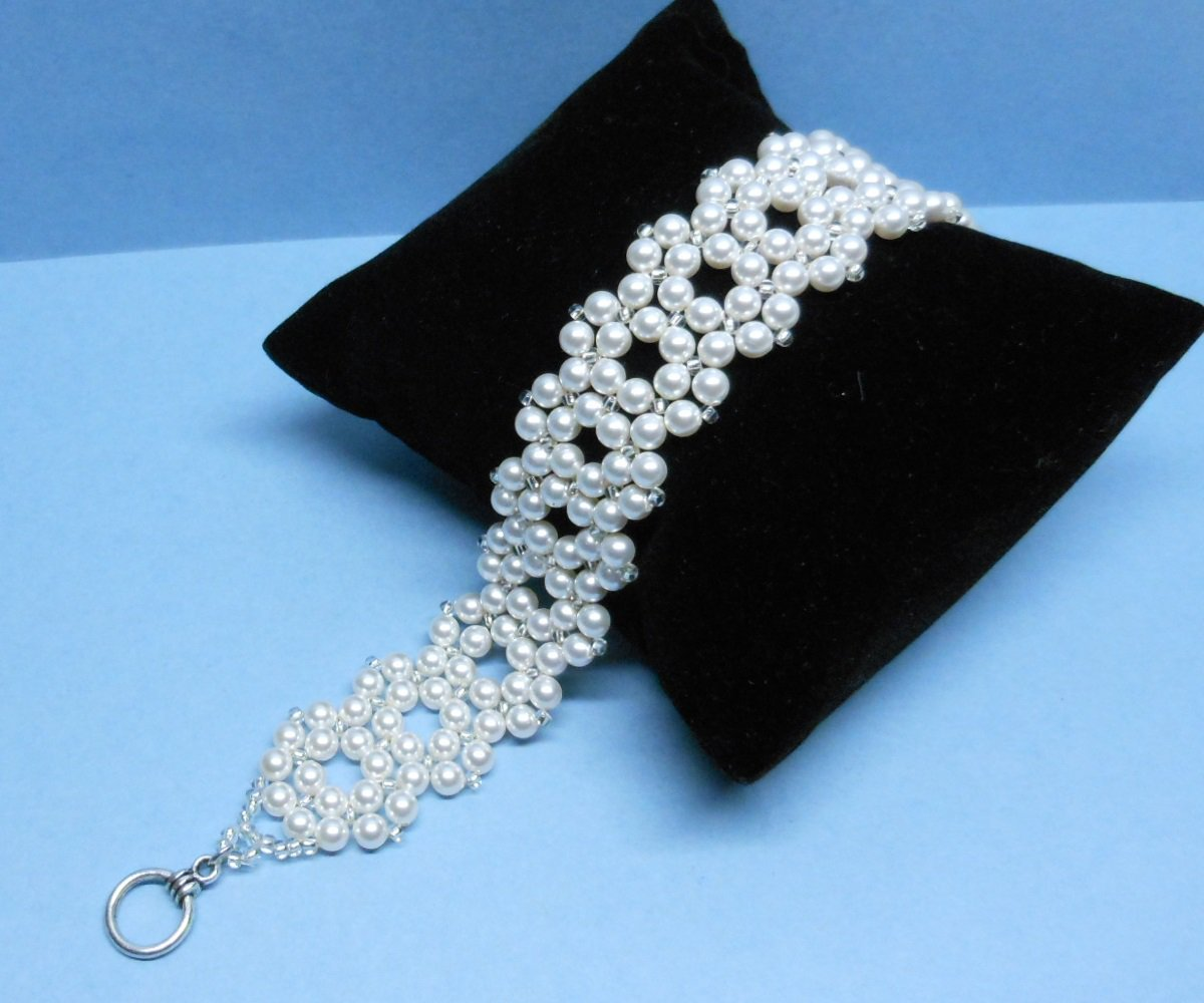 Swarovski White Pearl Bridal Bracelet, Woven Bridal Bracelet, Swarovski weaving Bridal Bracelet