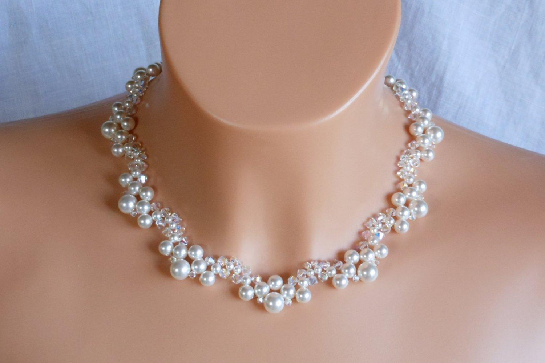 Swarovski White Pearl Bridal Necklace,Woven Bridal Necklace,White Pearl Necklace