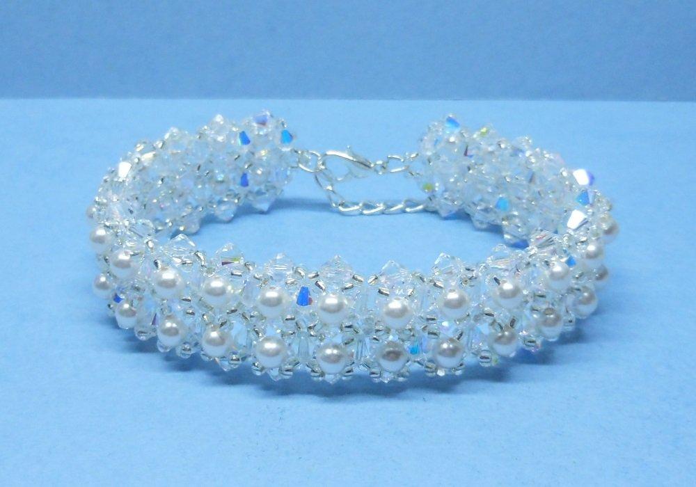 Swarovski White Pearl Bridal Bracelet, Woven Bridal Bracelet, Swarovski Crystal Bridal Bracelet