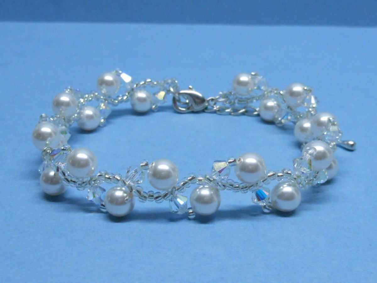 Woven Bridal Bracelet,Swarovski White Pearl Bridal Bracelet,  Swarovski Crystal Bridal Bracelet