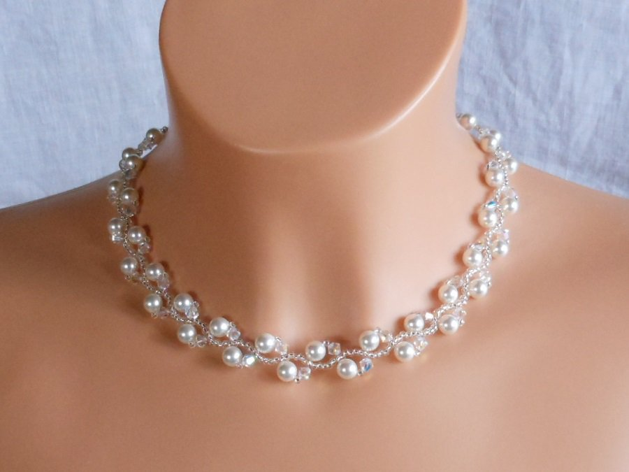 Swarovski White Pearl Bridal Necklace,Woven Bridal Necklace, Swarovski Crystal Bridal Necklace