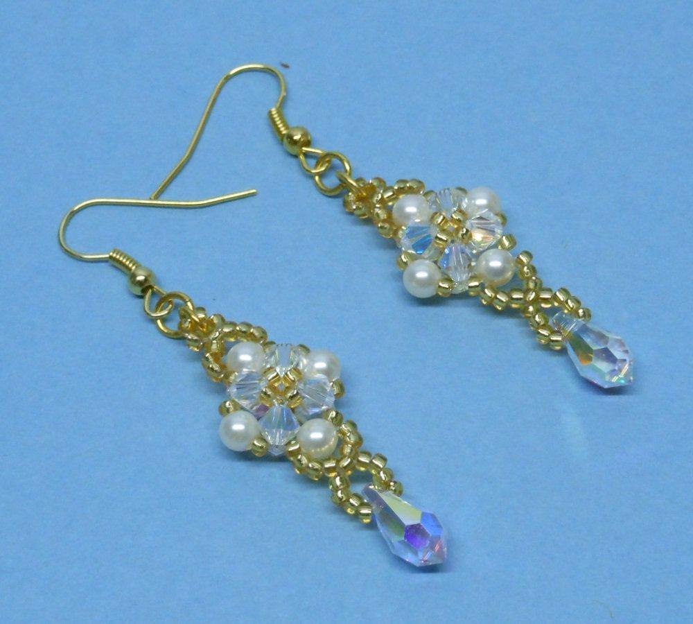 Swarovski Cream Pearl Bridal Earrings, Swarovski Crystal Bridal Earrings