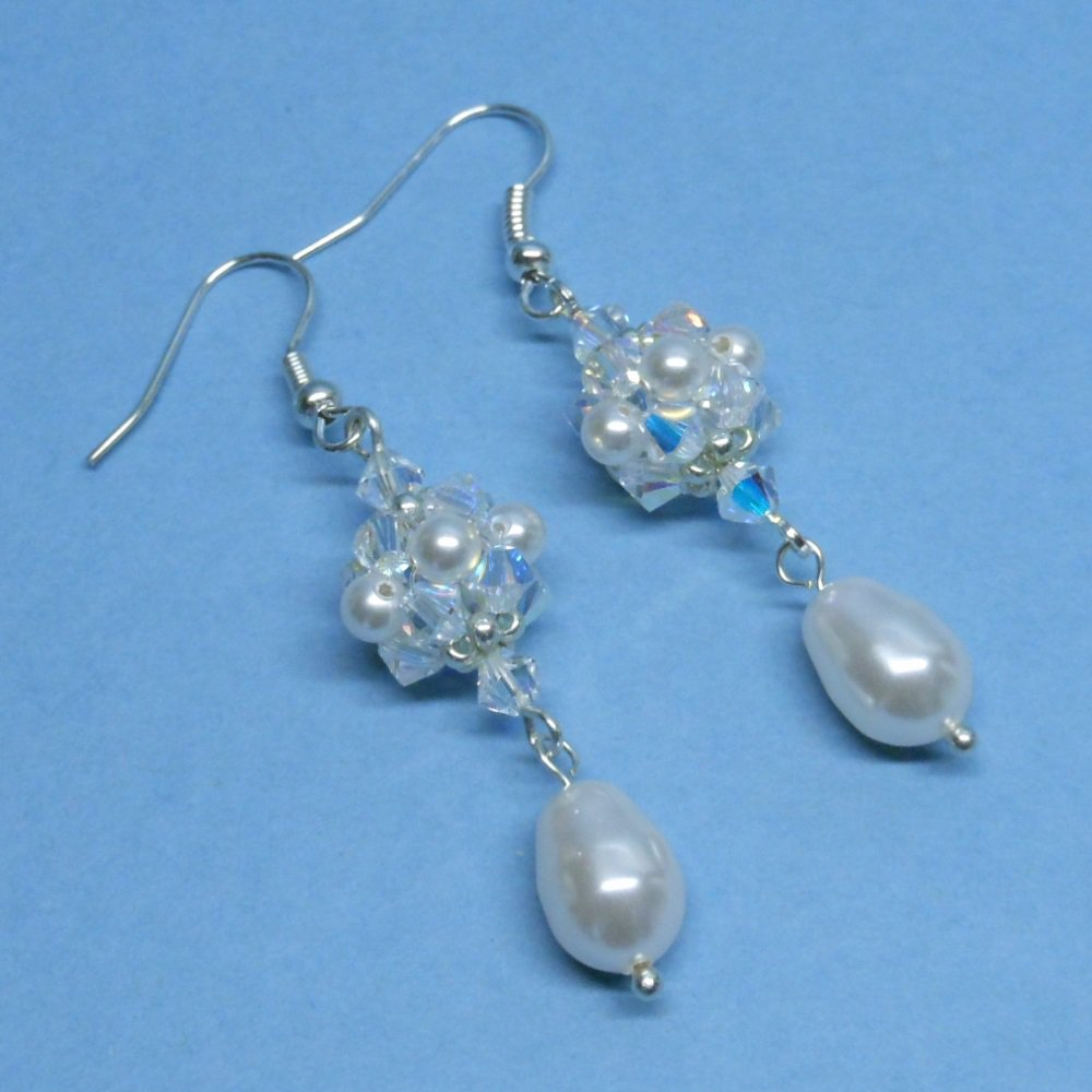 Swarovski White Pearl Bridal Earrings, Swarovski Crystal Bridal Earrings