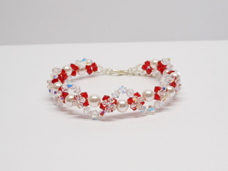 Swarovski White Pearl Bracelet, Woven Bracelet, Swarovski Crystal Bracelet, Weaving Bracelet