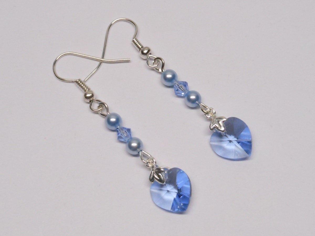 Swarovski Pearl Earrings, Swarovski Crystal Earrings, Blue Earrings