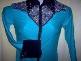 Turquoise/Silver/Black Western Pleasure, Rail, Showmanship, Shirt