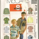 McCall's Sewing Pattern 2146 Shirt Long Short Sleeve Casual Sport Size 3-6 Uncut