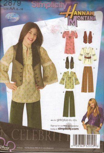Simplicity Sewing Pattern 2879 Hannah Montana Clothes Vest Peasant Blouse 8-16