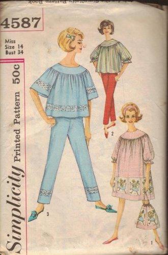 Simplicity Sewing Pattern 4587 Vintage Pajamas PJs Nightgown Bag Size 14 Lounge
