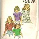 Kwik Sew Sewing Pattern 1235 Girl's Tops Puff Sleeve Ruffle Sizes 4-7 Vtg 1982