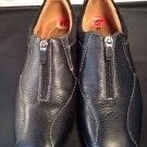 Naturalizer Black Leather Zip Front  Shoes Booties Women's Size 6 M Soft Flats
