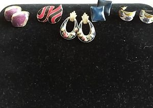 Enamel Button Hoop Earrings Pierced Costume 5 Pairs Lot Flowers Purple Goldtone