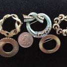 Circle 5  Pins Lot Blue Rhinestones Faux Pearls Vintage Reto Gold tone Brooch