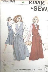 Kwik Sew Pattern 929 Vest Skirt Pockets Back Tie Reversible 6-12 Uncut