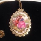 "Necklace Victorian Couple Pendant  Painted Cameo Style Large 32"" Chain Gold Tone"