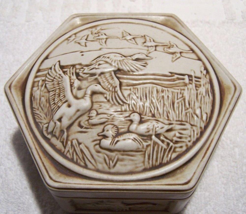 Avon Dish Trinket Soap Dish Geese Ducks Cattails Brazil Ceramarte 1980