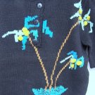Palm Tree Sweater Sparkle Dimensional Stitching Black Short Sleeve Size Med 1980
