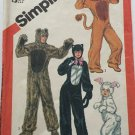 Simplicity Sewing Pattern 5739 Child Cat Lion Rabbit Bear Costumes Size 2 - 4