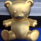 "JJ Dangler Teddy Bear Pin Gold Tone Satin Texture Vintage 2"" Jointed Dangles"