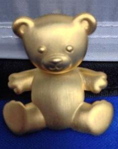 "JJ Dangler Teddy Bear Pin Gold Tone Satin Texture Vintage 2"" Jointed Dangles"