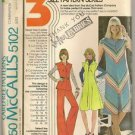 McCall's Sewing Pattern 5102 Vintage '70's Pantsuit Wide Leg A line Dress Uncut