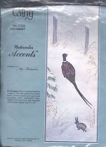 Cathy Needlework Watercolor Accents Pheasant Rabbit Nature Scene Embroidery 5X12