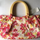 Old Navy Purse New Flowered Handbag Canvas White Pink Yellow Wood Handle Summer