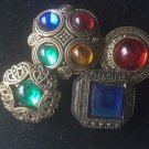 Jewelry Button Covers Faux  Gemstones Gold Set of 4 Mothers Day Antique