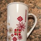 Starbucks Holiday Poinsettia Snowflake Red Gold 12 Oz Tall Coffee Cup Mug 2013