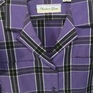 Blouse Purple Plaid Short Sleeve Size 12 Vintage 1970's Hunter's Glen Pockets