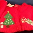 New Red Christmas Sweater Hat Tam Beret Pom Pom 3 Months Cardigan Button Tree