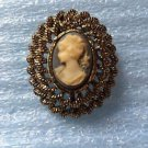 Cameo Blue Gerry's Signed Pin Vintage  Brooch Gold Tone Raised