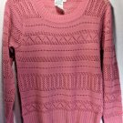 Sweater Pink Pull Over Pointelle Knit Light Gauge Vintage Small Year Round