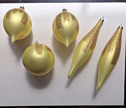 Christmas 5 Ornaments Gold Glitter Stripe Glass Teardrop Long and Short Round