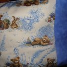 Old Time Teddy in BLUE Kids/Travel size Pillowcase