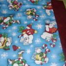 FLANNEL Christmas SNOWMAN Kids / Travel Pillowcase