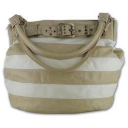 Gigi Chantal Tan and Bone Stipe Bucket Handbag