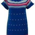 NECK BUTTON SWEATER DRESS - ROYAL BLUE