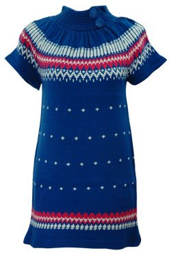 NECK BUTTON SWEATER DRESS - ROYAL BLUE