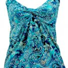 CROSSOVER SLEEVELESS KNIT TUNIC - BLUE