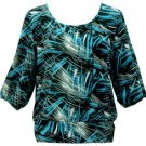 Knit Top with 3/4 Sleeves - Black Blue