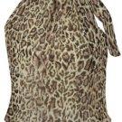 High Collar ChiffonTop - Leopard Print