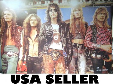 Alice Cooper with band poster 31 x 21 as he looked in 1970s & SHIP FROM USA