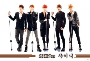 Shinee with old mikes horiz POSTER 34 x 23.5 Korean boy band Taemin Onew Minho