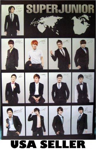Super Junior black collage poster 23.5 x 34 Korean Kpop boy band Suju