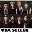 EXO XOXO horiz 12-panel collage POSTER 34 x 23.5 Korean boy band &SENT FROM USA