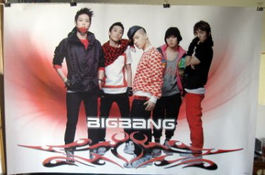 Bigbang horiz red poster Korean boy band Big Bang Top G-Dragon T.O.P. Tae Yang